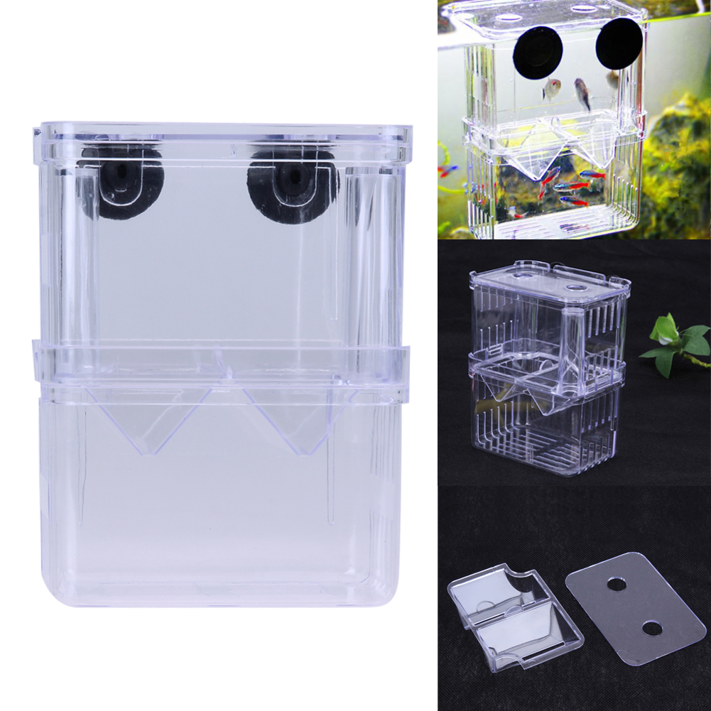 Acrylic Fish Breeding Box Aquarium Breeder Box High Clear Double Guppies Hatching Incuba ...