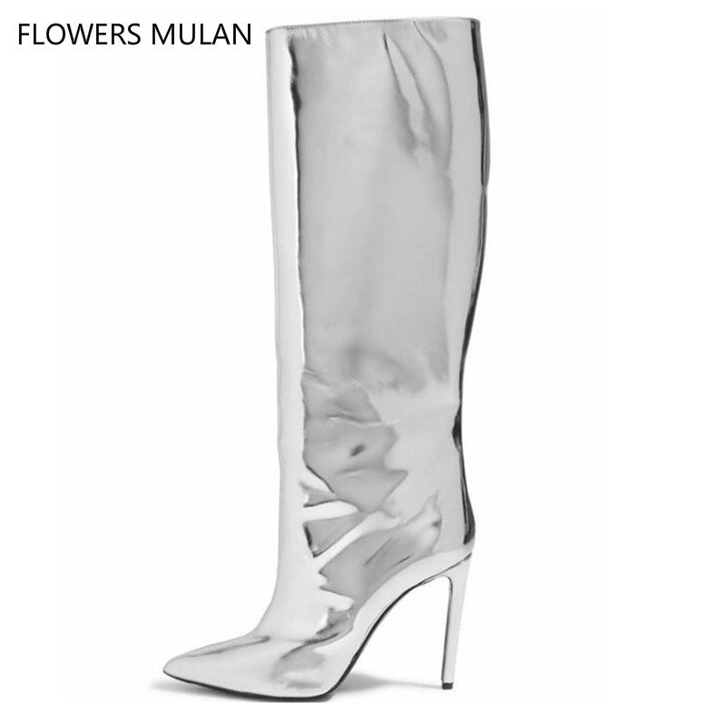 Gold Silver Mirrored Leather Pointed Toe Knee High Heels Boots Women Slip On Over The Knee Boot Pointed Toe Street Fashion ShoesGold Silver Mirrored Leather Pointed Toe Knee High Heels Boots Women Slip On Over The Knee Boot Pointed Toe Street Fashion Shoes