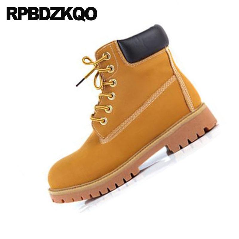 Lace Hombre Vintage Invierno Trabajo Chunky Tobillo Corto Amarillo Seguridad Diseñador Piel Otoño Up Durable Botines Zapatos Con Botas xqI8zt8w