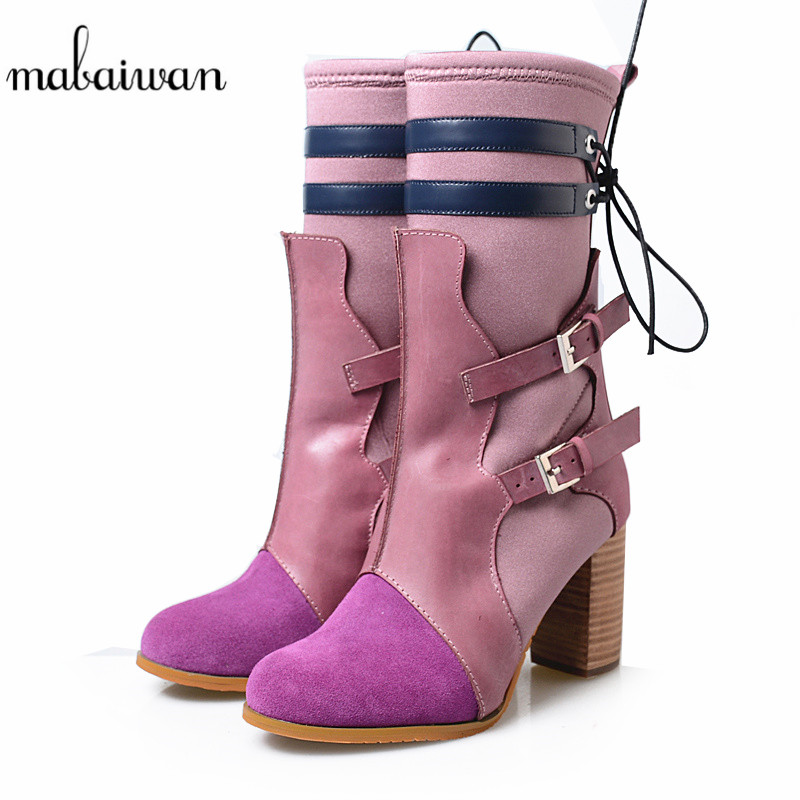 Mabaiwan Fashion Women Winter Sock Stretch Ankle Boots Square High Heel Genuine Leather Shoes Woman Mixed Colors Buckle PumpsMabaiwan Fashion Women Winter Sock Stretch Ankle Boots Square High Heel Genuine Leather Shoes Woman Mixed Colors Buckle Pumps