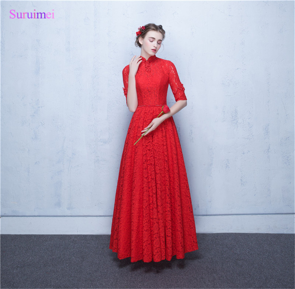 New Arrival O Neck Red Lace   Prom     Dresses   Floor Length China Tradition Style Key Hole Open Back Corset Long   Prom   Gown