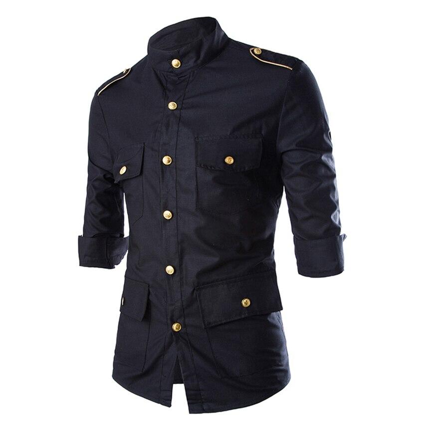 2018 패션 블랙 3 분기 슬리브 블랙 캐주얼 단색 남성 셔츠 슬림 피트 슈미즈 옴므 금 견장 장식 남성 의류