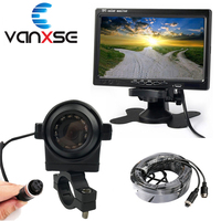 Vanxse 7TFT LCD Car Monitor 15Meters cable Aviation head 4 Pin IR Rear view Camera Parking System For Bus Truck Boat