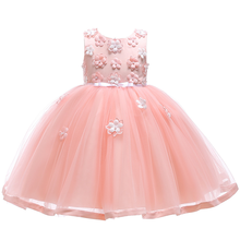 2019 new childrens dress lace applique princess girls dance flower beaded poncho party