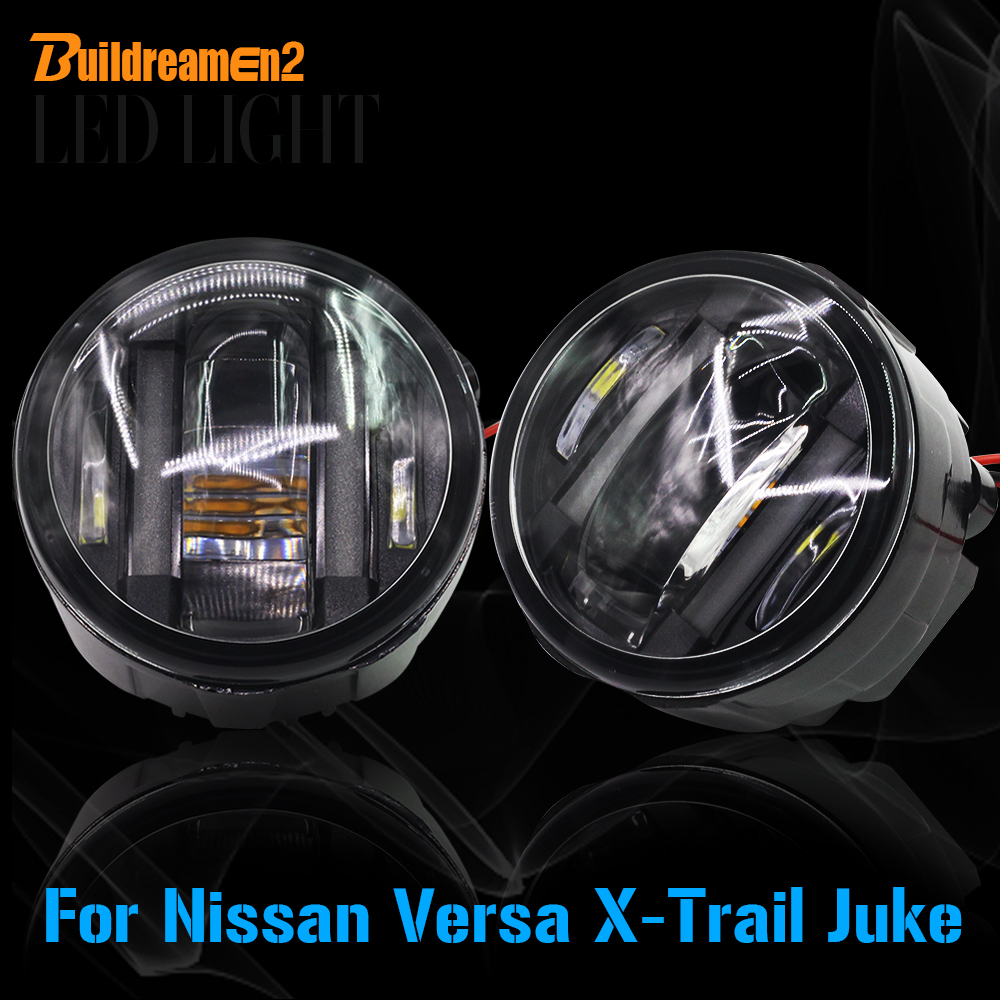 Buildreamen2 Car Accessories LED Left + Right Fog Light Daytime Running Lamp DRL For Nissan Juke Versa X-Trail for nissan patrol y62 armada accessories original design fog lamp with chrome fog light cover