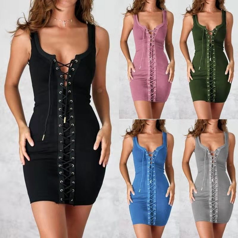 Sleeveless <font><b>sexy</b></font> dress with chicken-eye tie casual bodycon dress <font><b>vestidos</b></font> <font><b>verano</b></font> <font><b>2018</b></font> image