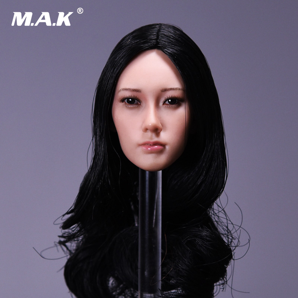 1/6 Girl Head Sculpt Long curly black brown hair Asian Beauty Headplay Model for 12 suantan color TBLeague & PH Figure body fashion long curly hair wigs flaxen brown