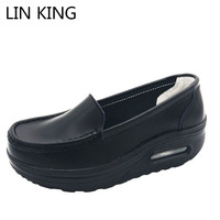 LIN KING New Breathable Swing Shoes PU Leather Wedge Heels Women Casual Shoes Slip Shallow Mouth