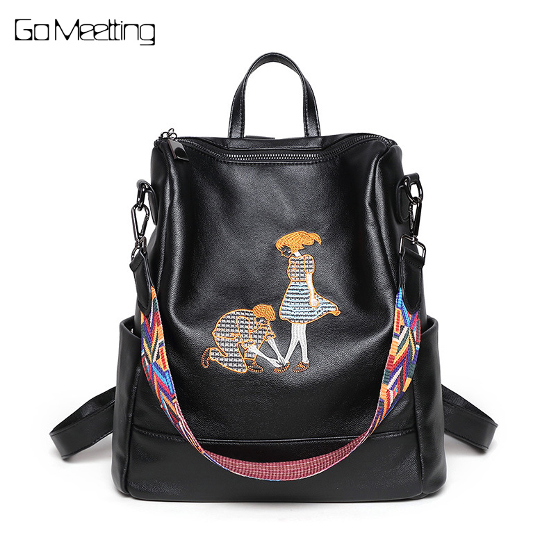 Go Meetting Genuine Leather Women's Backpack Preppy Style Sheepskin Women Shoulder Bag High quality School Travel Backpacks женские часы go girl only go 694925