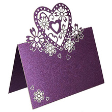 50pcs/lot Guest Name Place Invitation Cards Favor Decoration Wedding Love Heart Laser Cut Wedding Party Card Table Wine