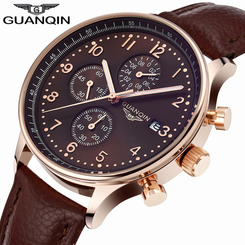 ФОТО Original Brand GUANQIN Quartz Watch Men's Wrist Watches Men 2017 Multifunction Chronograph Calendar Luminous Month Leather Clock