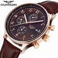 Original Brand GUANQIN Quartz Watch Men's Wrist Watches Men 2017 Multifunction Chronograph Calendar Luminous Month Leather Clock