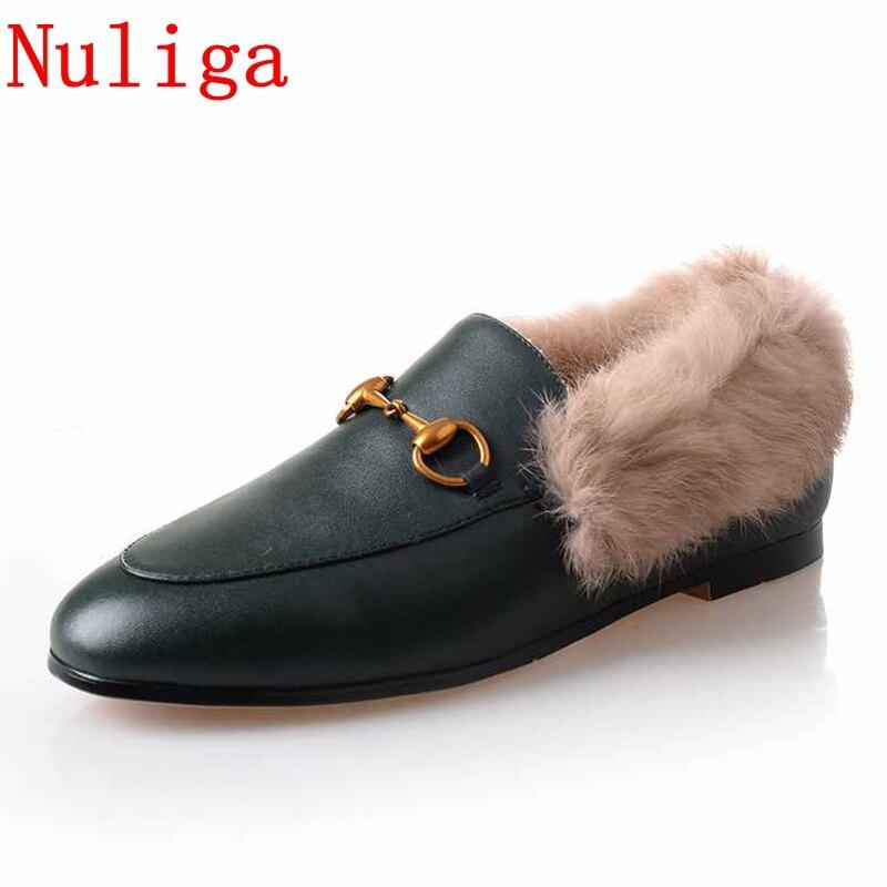 Nuliga 2018 scarpe di marca in pelle di mucca pelliccia di coniglio ricamo punta rotonda spessi tacchi bassi di fissaggio in metallo di grande formato di Inverno di lusso pompe
