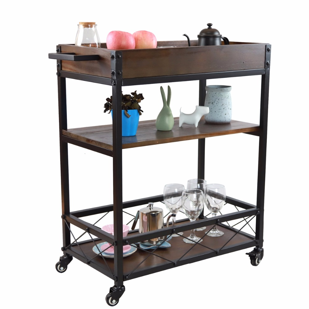1 Pc Home Myra Rustic Mobile Kitchen Bar Serving Cart Wood and Metal ...