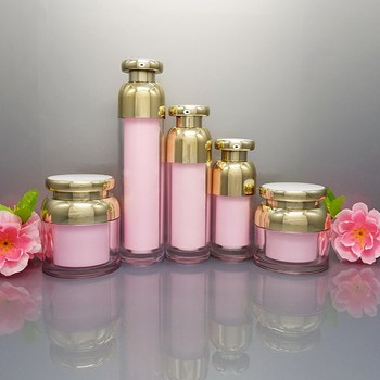 15ml 30ml 50ml 100ml Empty Acrylic Pink Gold Essence Vacuum Pump Bottle 30g 50g Makeup Cream Jar Empty Cosmetic Container