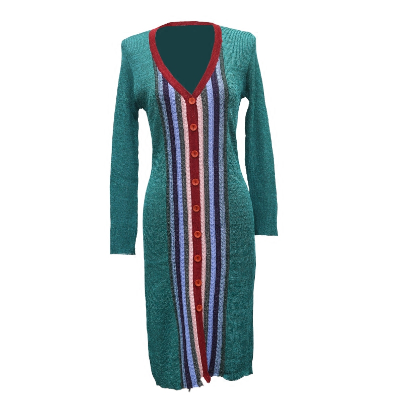 Pour Tricot Couleur Rayures Robe Unique Lumineux Femmes Printemps Cardigan As Mince Shown breasted 2018 xnqpv6w0