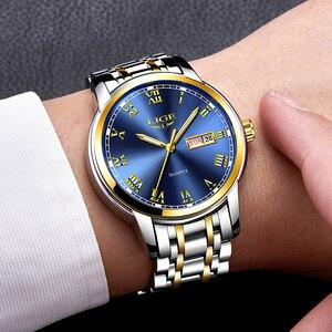 Image 4 - Luik Luxe Merk Mannen Roestvrij Staal Gouden Horloge Heren Quartz Klok Man Sport Waterdichte Horloges Relogio Masculino