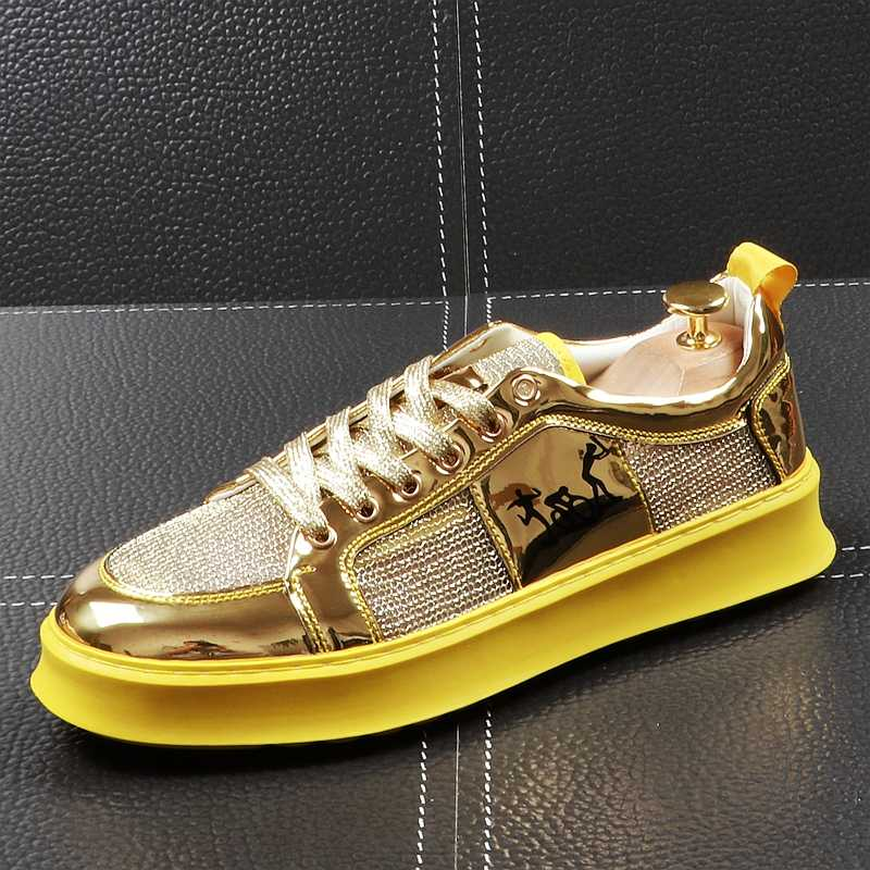 CuddlyIIPanda Luxe Merk Zomer Ademend Casual Straat Schoenen Mannen Goud Zilver Sneakers Lace Up Rijden Schoenen Mannelijke Mocassins