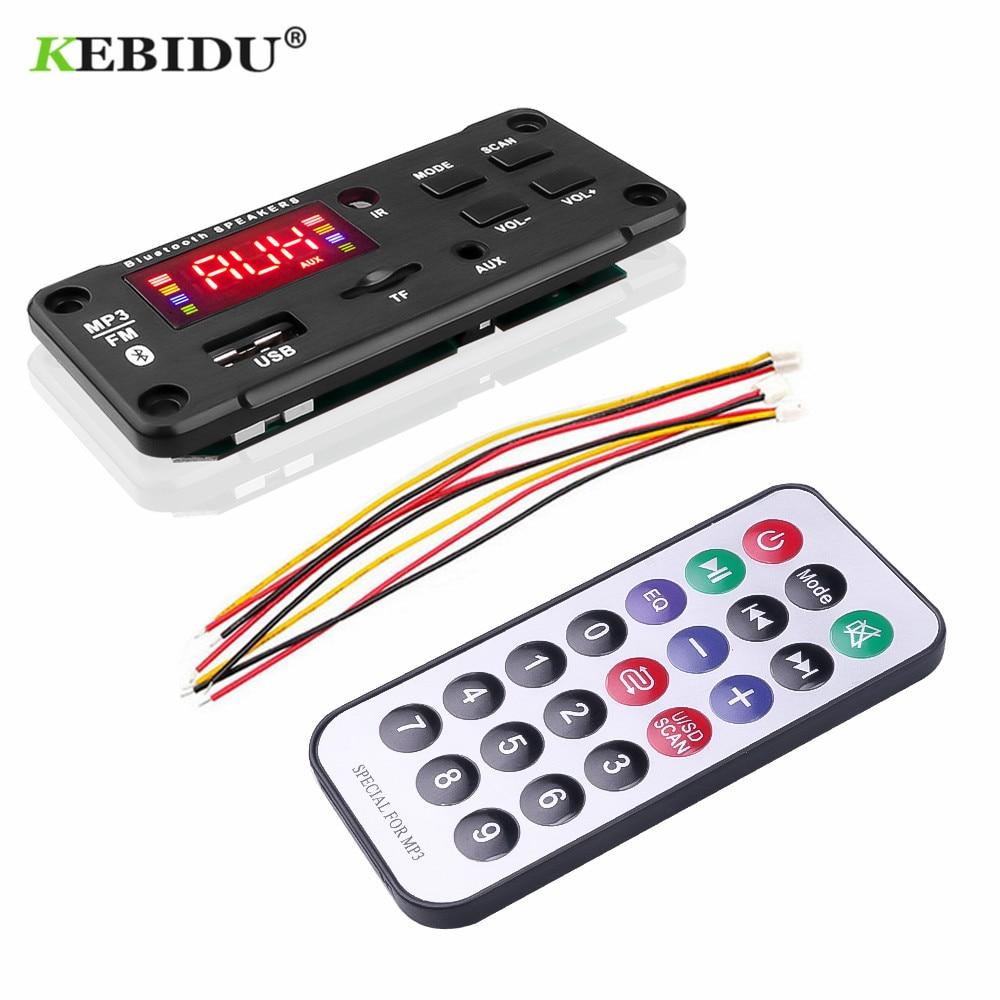 KEBIDU Bluetooth MP3 Decoder Audio Board DC 5V 12V USB Power Supply TF FM Radio MP3 Player For Car Music Speaker+Remote Control(China)