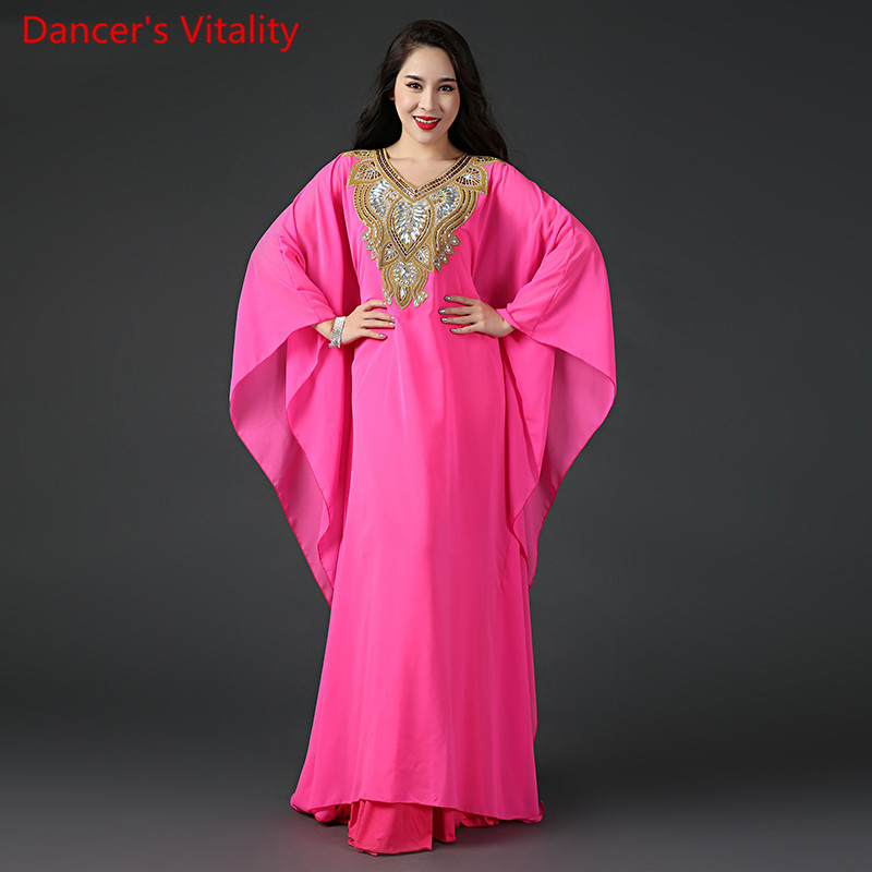 New 3 Types Robe Women Belly Dance Loose Costume Luxury Embroidery Performance Show Wear Yellow Hot Pink Free Shipping