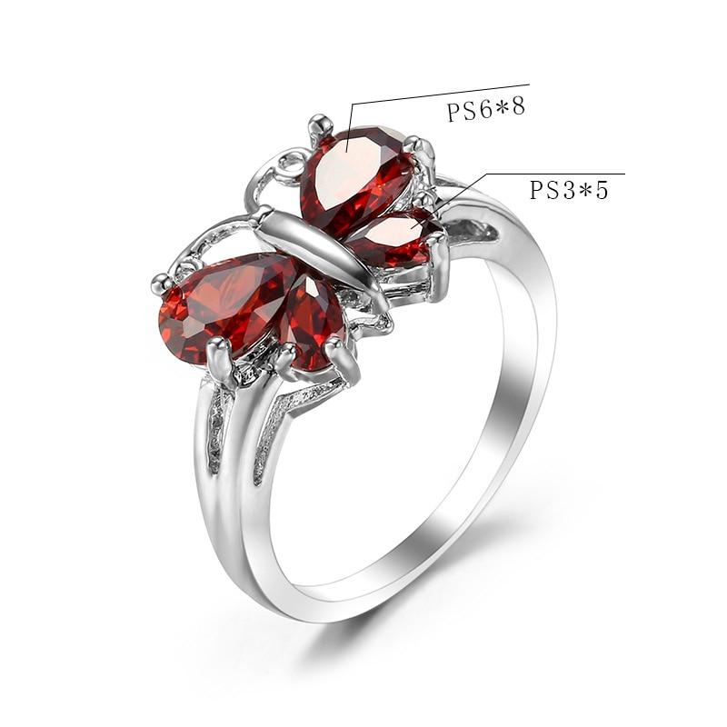 Роскошное женское кольцо модная Серебряная бабочка розовое кристалльное цирконовое кольцо с камнем винтажные свадебные кольца для женщин лучший подарок - Цвет основного камня: RR022-2