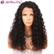 AliBlissWig Human Hair Wigs Curly 360 Lace Frontal Wigs For Black Women Natural Color Brazilian Remy Medium Cap 150 Density