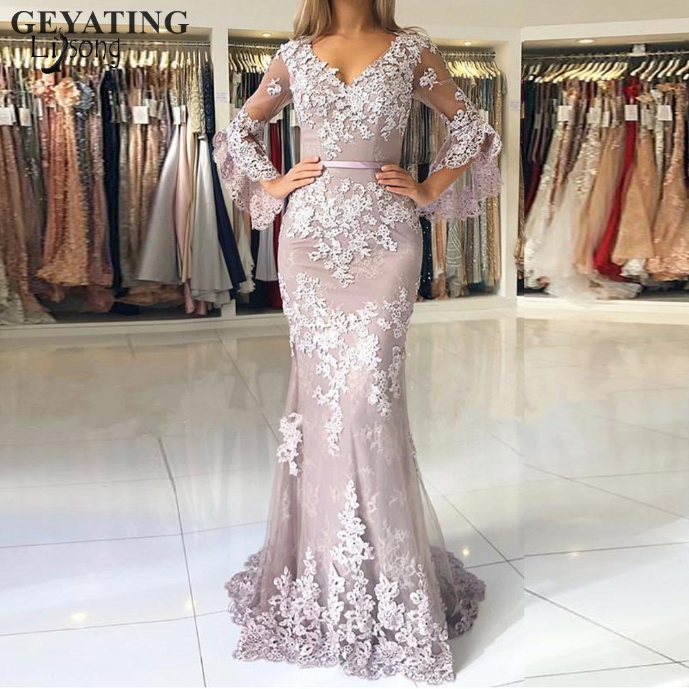 2019 Elegant Lace Mermaid Arabic   Evening     Dress   Long Sleeves V-Neck Hunter Green Burgundy Royal Blue Silver Formal Prom   Dresses