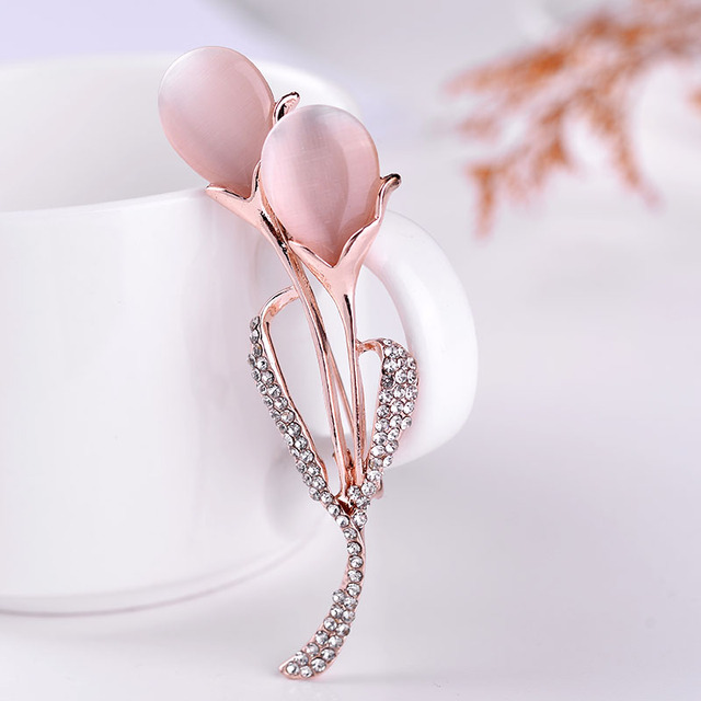 8209a78de3a LUBOV Elegant Tulip Flower Brooch Pin opal stone Crystal Costume Jewelry  Clothes Accessories Jewelry Brooches For Wedding