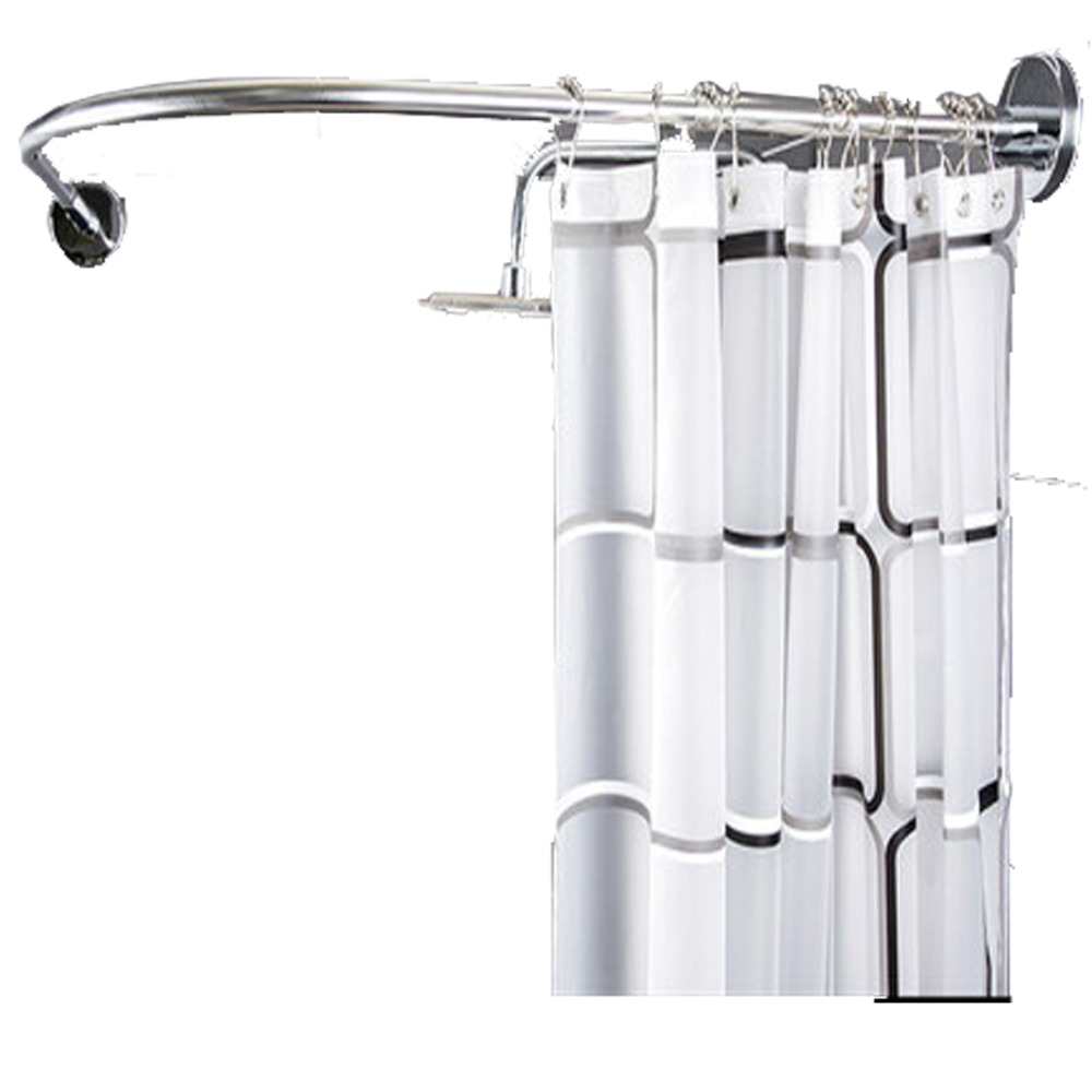 2019 Free Tool Shower Curtain Rod Curved Corner Pole Bath