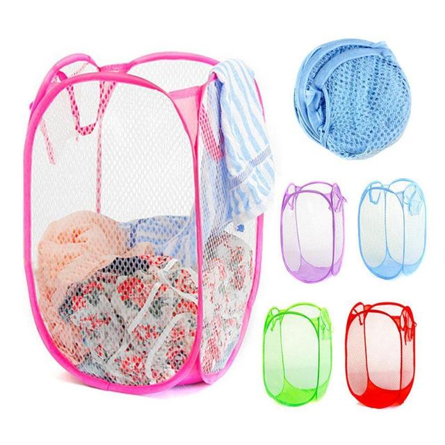 Foldable Pop Up Nylon Mesh Laundry Basket Hamper Washing Clothes Bag Bin  Mesh Storage Clothes Or