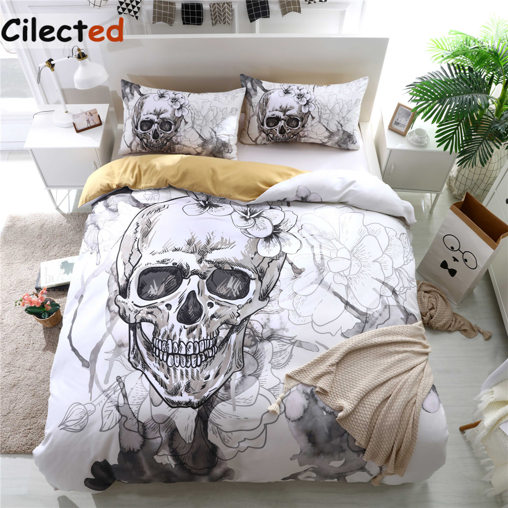 White Skull Duvet Cover