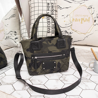 Shoulder Bag For Women 2019 Hot Korean Style Fashion Ladies Casual Tote Smiley Face Camouflage Shopping Polyester Handbag Women