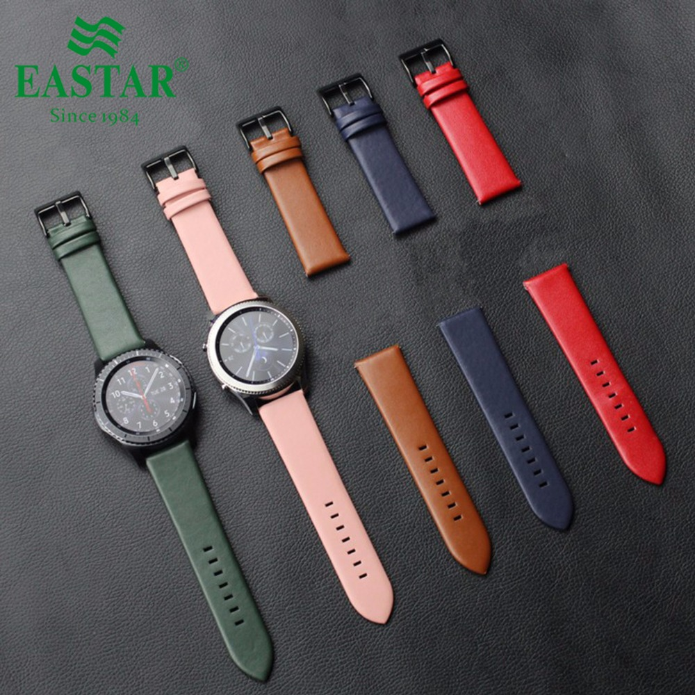 Eastar Colorful Genuine Leather Strap For Samsung Gear S3 Band Frontier Strap For Gear S3 Classic Watchband 22mm Watch Bracelet tearoke 11 color silicone watchband for gear s3 classic frontier 22mm watch band strap replacement bracelet for samsung gear s3