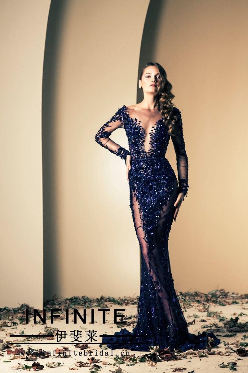 2014 New Arrival Fashion Sheath Mermaid Sexy Dark Blue Beaded Long Sleeve Floor-Length Evening Dress