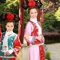 2016 Династии Цин Gege полноценно Принцесса Костюм Hanfu Древний Королевский Флаг Одежда женская Косплей Маньчжурской Суд платье