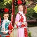 2016 Qing Dinastía Gege de Alto grado Princesa Hanfu Traje Antiguo Ropa Cosplay de Las Mujeres de La Bandera Real Los Manchúes Corte vestido