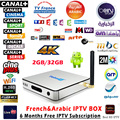 Android 6.0 Caixa de IPTV Arábica Francês 4 K Smart TV Box KB2 DDR3 2/32G + 6 Meses Grátis 1150 + HD TV Ao Vivo Europa Servidor IPTV Set Top Box