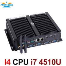 Partaker Fanless Industrial Mini PC i7 4500U i3 i5 Barebone Mini PC i7 Windows 10 ITX Computer 2 LAN 2 HDMI 6 COM 8 USB Nettop