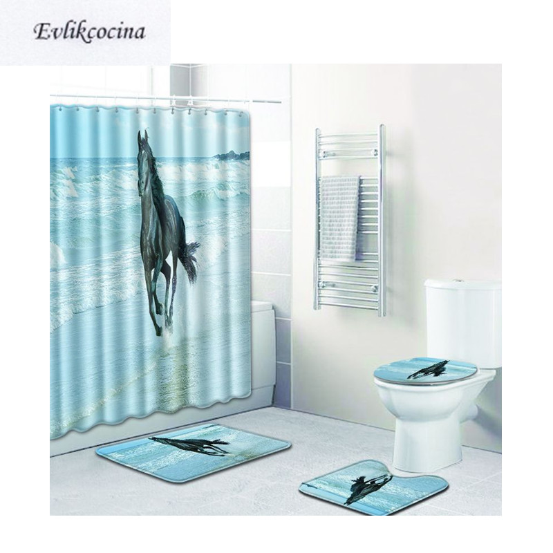Free Shipping 4Pcs Sea Horse Running Banyo Bath Mats Set Anti Slip Bathroom Tapete Banheiro Washable Toilet Rugs Alfombra Bano
