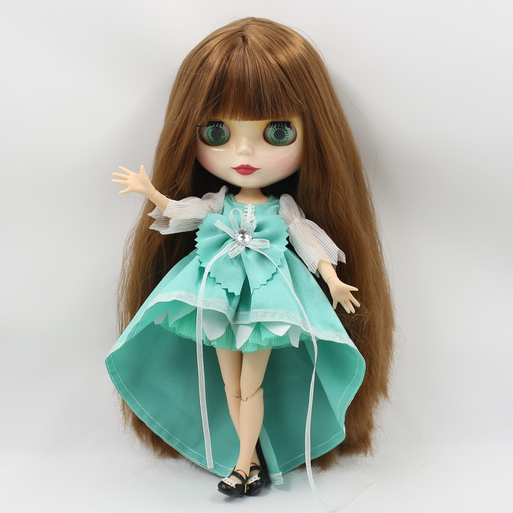 Free shipping blyth doll icy licca QN1741 BROWN straight hair with bangs/fringes joint body 1/6 30cm bjd neo gift toy 1pair shoessuitable for 1 6 doll normal doll joint doll bjd blyth icy jecci five licca body for 30cm doll shoes