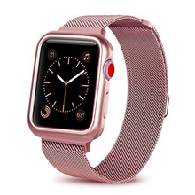 Watch Case+strap for Apple Watch 4 3 iwatch band 42mm 38mm 44mm 40mm Milanese Loop link bracelet Stainless Steel watchband