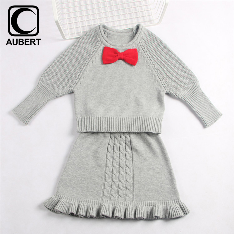 Kids Sweater Skirt Suit 2017 Spring Autumn New Girls Woolen Knitted Pullovers Baby Clothing Set Cute Princess Children Outfits girls cute knitted sweater with skirt kids set wear sweet style with bow knot for spring