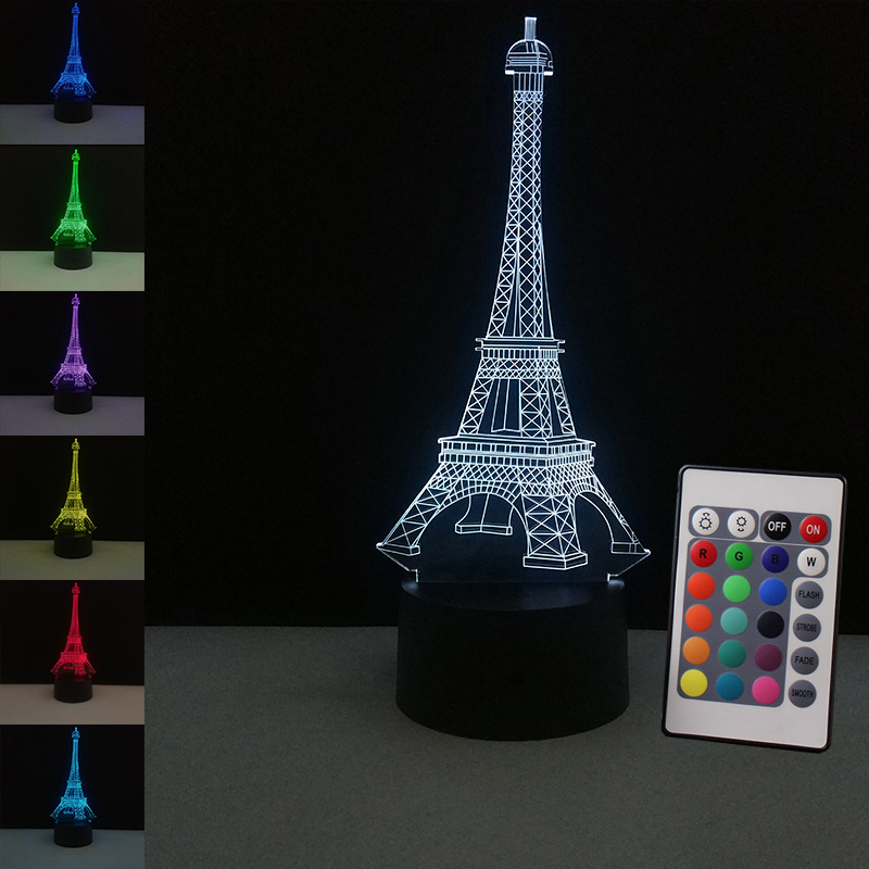 Romantic Led Night Light France Eiffel <font><b>Tower</b></font> 3D Table Lamp Colorful Flashing Usb Desk Lights Illusion for Bedroom Holiday Gifts