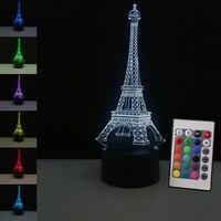 Romantisches Led-nachtlicht Frankreich Eiffelturm 3D Tischlampe Bunte Blinkende Usb Schreibtisch Lichter Illusion für Schlafzimmer Urlaub Geschenke