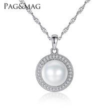 PAG y MAG Classic Ronda 925 Collar Colgante de Plata con 9-9.5mm Perlas Naturales de Agua Dulce Perla Fina joyería Hot001(China (Mainland))