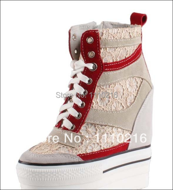 hot sale new 2017 fashion wedge high platform hidden heels lace patchwork lace-up high top woman casual shoes thick sole boots