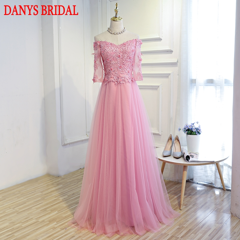Pink Long Sleeve Lace Mother Of The Bride Dresses Gowns