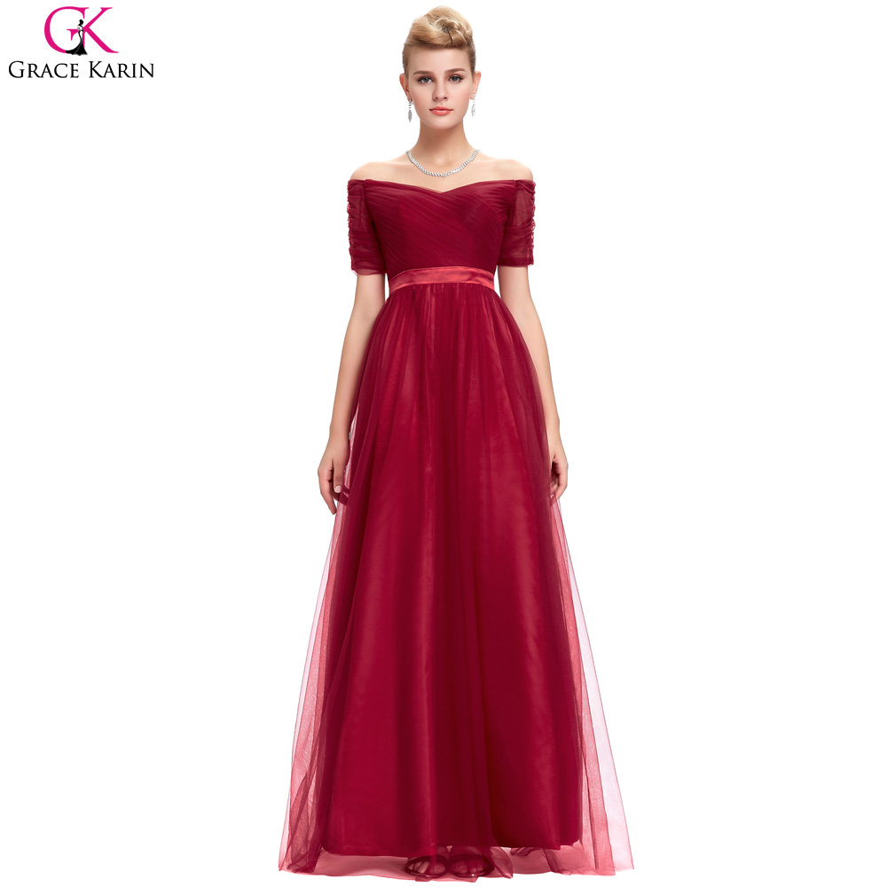 0869151453b Elegant Sexy Off The Shoulder Black Red Short Sleeve Evening Dresses Long  Grace Karin 2017 Robe De Soiree Tulle Formal Gowns-in Evening Dresses from  ...