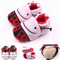 Fashion 0-1 Year Cotton Fabric Baby Moccasins Cute Lovely Newborns Girls Boy Ladybug Soft Crib Shoe Infant Fleece Warm Shoes