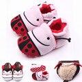 Fashion 0-1 Year Cotton Fabric Baby Moccasins Cute Lovely Newborns Girls Boy Ladybug Soft Crib Shoe Infant Fleece Warm Shoes